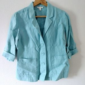 Eileen Fisher blue button down pocket blouse